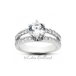 1.19ct D Vs2 Round Earth Mined Certified Diamonds 14k White Gold Sidestone Ring