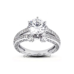 2.57ct F Si2 Round Natural Diamonds 18k White Gold Vintage Style Side-stone Ring