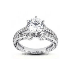 2.85ct D/si2 Round Natural Diamonds 18k White Gold Vintage Style Sidestone Ring