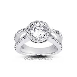 1.23ct D Si1 Round Natural Certified Diamonds 18k White Gold Halo Sidestone Ring