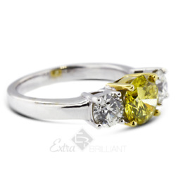 1.44ct Yellow Si1 Round Natural Certified Diamonds 14k Classic Engagement Ring