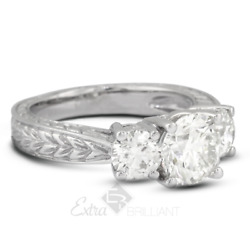 1.52ct D Si1 Round Natural Diamonds 18k White Gold Vintage Style Engagement Ring