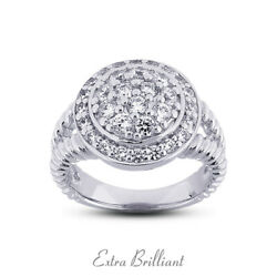 0.73ct F Vs1 Round Cut Earth Mined Certified Diamonds Platinum Halo Womens Ring