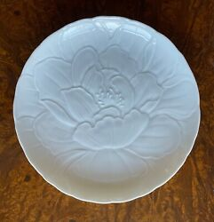 5 Signed Japanese Porcelain Plates With Bas Relief Modeled Peonies 6 7/8