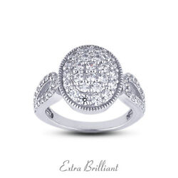1.66ct F Vs2 Round Cut Earth Mined Certified Diamonds 14k White Gold Womens Ring