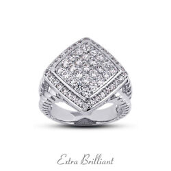 1.08ct F Vs2 Round Cut Earth Mined Certified Diamonds 18k White Gold Womens Ring