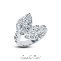 1.23 Ctw E Vs1 Round Cut Natural Certified Diamonds 14k White Gold Cocktail Ring