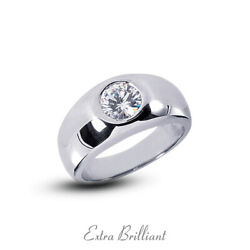 0.44ct H Vs2 Round Cut Earth Mined Certified Diamond Platinum Classic Mens Ring