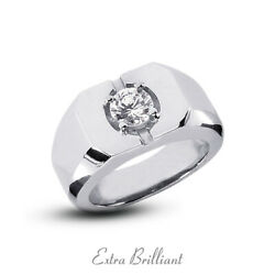 0.42ct F/vs2 Round Natural Certified Diamond 18k White Gold Classic Mens Ring