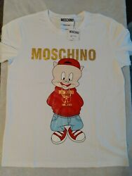 Moschino Couture Milano Unisex Porky Pig T Shirt Size L BLACK short sleeve $62.00