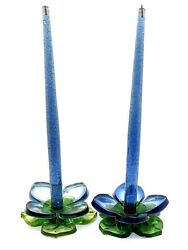 Vintage Mid Century Pair Lucite Glitter Candles Flower Candlesticks Blue Green