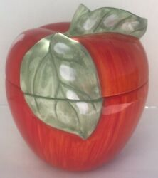Home Collection Red Delicious Apple Cookie Jar With Green Leaves 10 1/2tall.