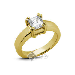 0.53ct D Si1 Princess Natural Diamond 18k Yellow Gold Solitaire Engagement Ring