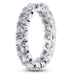 3ct H Vs2 Round Natural Certified Diamonds 14k White Gold Classic Eternity Band