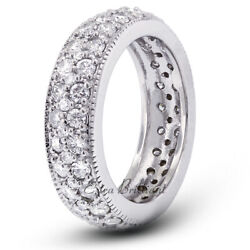 2 1/2ct H Si1 Round Cut Natural Certified Diamonds 18k White Gold Eternity Band