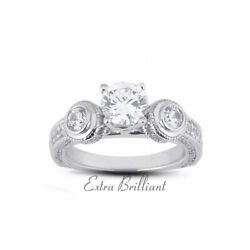 1.63ct F/vs2 Round Natural Diamonds 14kw Gold Vintage Style Engagement Ring