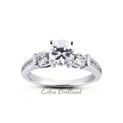 1.17ct E/si1 Round Natural Diamonds 18k White Gold Classic Engagement Ring