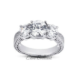 1.06ct F Si3 Round Natural Diamonds 18k White Gold Vintage Style Engagement Ring
