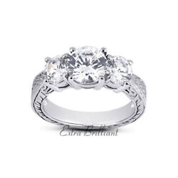 1.12ct G/si1 Round Natural Diamonds 18k White Gold Vintage Style Engagement Ring