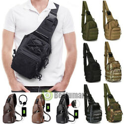 Men Backpack Molle Tactical Sling Chest Pack Shoulder Bag Outdoor Hiking Handbag $16.99