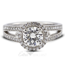 1.55ct D Si2 Round Natural Certified Diamonds 14kw Gold Halo Side-stone Ring