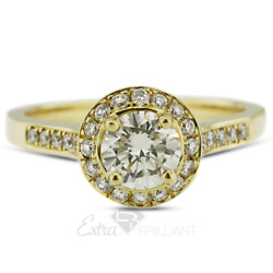 1.49ct H Si2 Round Natural Diamonds 14k Yellow Gold Halo Side-stone Ring