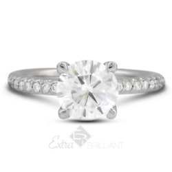 1.43ct D/si2 Round Natural Certified Diamonds 14kw Gold Classic Side-stone Ring