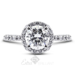 1.09ct H/si1 Round Natural Diamonds 18k White Gold Halo Side-stone Ring