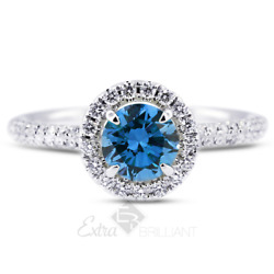 1.14ct Blue Si1 Round Natural Certified Diamonds 18k Gold Halo Sidestone Ring
