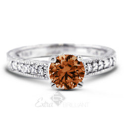 1.10ct Red Vs1 Round Natural Diamonds Plat Vintage Style Sidestone Ring