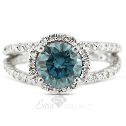 1.61 Ctw Blue Si3 Round Cut Natural Certified Diamonds Plat Halo Sidestone Ring