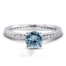 1.41ct Blue Vs2 Round Natural Certified Diamonds Plat Classic Side-stone Ring