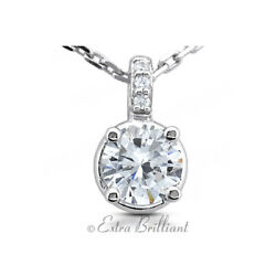 1.16ct F/si2 Round Earth Mined Certified Diamonds 14k White Gold Classic Pendant