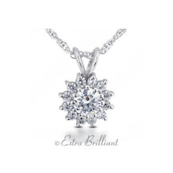 0.80 Carat D/si1 Round Cut Earth Mined Certified Diamonds 14k White Gold Pendant