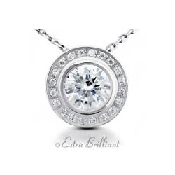 0.61ct I/si1 Round Earth Mined Certified Diamonds 18k White Gold Halo Pendant