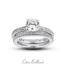 1.31ct E/si1 Round Natural Diamonds Plat Classic Ring With Wedding Band