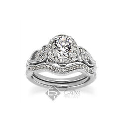 1.25ct D Vs2 Round Natural Certified Diamonds 18k Gold Halo Engagement Ring Set