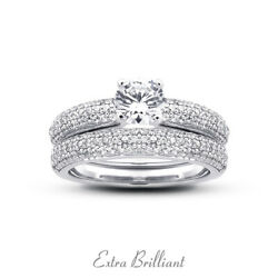 1.38 Ctw H/vs2 Round Cut Natural Certified Diamonds Plat Ring With Wedding Band