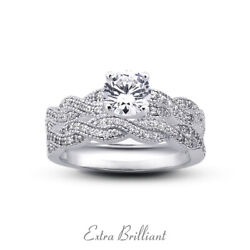1.18ct I/vs2 Round Natural Diamonds 14k Vintage Style Ring With Wedding Band