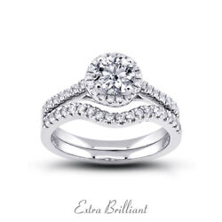 0.95ct F/si1 Round Natural Certified Diamonds 18k Gold Halo Engagement Ring Set