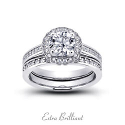 1.04ct G Vs2 Round Earth Mined Certified Diamonds 18k Halo Engagement Ring Set