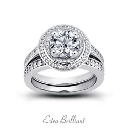 1.42ct F/si2 Round Natural Certified Diamonds 18k Halo Ring With Wedding Band
