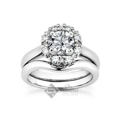 0.92ct G/si1 Round Natural Certified Diamonds 14k Halo Ring With Wedding Band