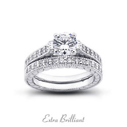 0.76ct H Vs2 Round Natural Diamonds 18k Vintage Style Ring With Wedding Band