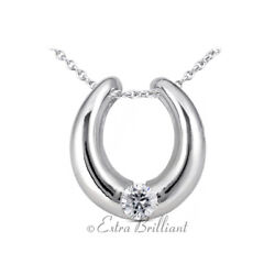 0.77ct G Si1 Round Natural Certified Diamond 18k White Gold Solitaire Pendant