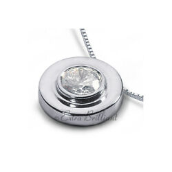 1.02ct F Si1 Round Natural Certified Diamond 18k White Gold Solitaire Pendant