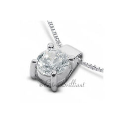 1.03ct E Si2 Round Natural Certified Diamond 14kw Gold Classic Solitaire Pendant