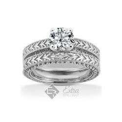 0.43ct H/si1 Round Natural Diamond 18k Vintage Style Ring With Wedding Band