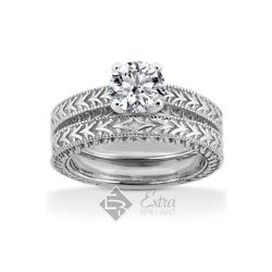 0.43ct G/vs2 Round Natural Diamond Plat Vintage Style Ring With Wedding Band
