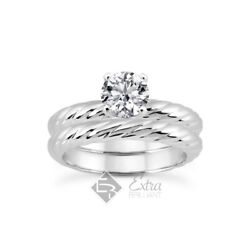0.42ct I/vs2 Round Natural Certified Diamond Plat Classic Engagement Ring Set
